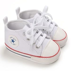 Baby Toddler White Lace-up Hightop Prewalker Shoes